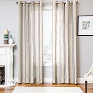 "Softline Hudson Series Wide Striped Window Panel / Curtain / Treatment / Drape with Modern Silver Grommet Top 55"" x 96"" in Grey"