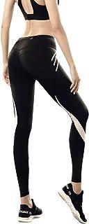 女式锻炼紧身裤带口袋高腰瑜伽隐蔽口袋长裤紧身收腰臀,适合锻炼跑步健身运动健身