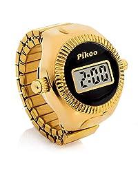 Pikoo:中性款数字戒指手表 w/日本制造机芯,均码适合所有人 - 经典黑色