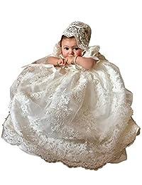 Aorme Baptism 连衣裙串珠蕾丝长款洗礼礼服 带帽