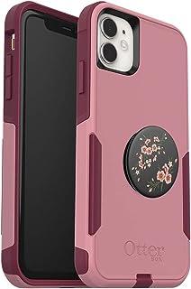 套装:OtterBox 通勤系列手机壳,适用于 iPhone 11 - (Cupids Way) + PopSockets PopGrip - (花朵图案)