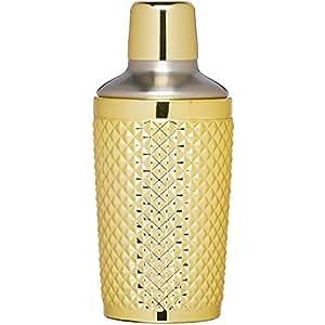 BarCraft 热带别致镶嵌波士顿鸡尾*瓶,300 毫升(10.5 液体盎司) 金色 8 x 8 x 17.5 cm BCCSSTUDGLD