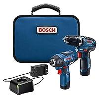 Bosch 博世 GXL12V-220B22 12V Max 2 工具組合套裝,帶 3/8 英寸鉆/驅動器,1/4 英寸六角沖擊起子和 (2) 2.0 Ah電池
