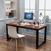 电脑桌台式桌主机笔记本家用经济型书桌写字台简易小孩学习桌书桌餐桌简约现代钢木办公桌子双人桌 (柚木色(黑色桌脚), 长度140x宽度60cm)