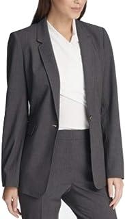 DKNY 单扣夹克,条纹袖口,深灰色 10
