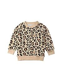 幼童女童豹纹毛衣婴儿儿童休闲衬衫套头上衣 T 恤运动衫服装