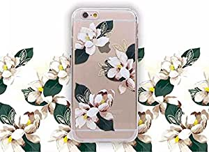 iPhone 6S / 6 手机壳(4.7 英寸),金银河透明花卉图案系列 TPU 保险杠 + 硬质 PC 后盖保护灵活透明手机壳适用于 iPhone 6S / 6 White Camelia