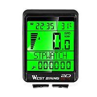 Bicycle 无线电脑测速仪 - 5 种语言显示 每周更新*和自动唤醒自行车防水秒表速度追踪器带 LCD 背光骑行配件