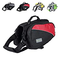Wellver 狗狗背包马鞍包旅行包适用于远足散步露营 红色+黑色 L
