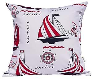 "TangDepot 装饰性手工棉抱枕套/枕头枕套,航海,自行车,Fire_Balloon 主题靠垫套 V01 Red Sailing 14"" x 14"" TPCover-Vehicle-14x14V01RedSailing"