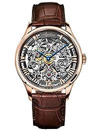 agelocer 艾戈勒 瑞士品牌 316L精钢 80小时超长动能 自动机械男士手表 镂空雕花时尚潮男腕表 5401D2 玫瑰金棕皮带(亚马逊自营商品, 由供应商配送)