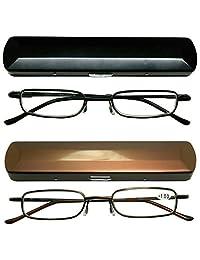 老花镜 2 对黑色和金色老花金属轻质紧凑中性眼镜,含老花镜