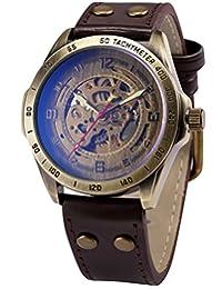 AMPM24 复古青铜表壳自动机械镂空棕色皮表带男式运动手表 PMW368