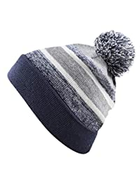 THE HAT DEPOT 幼儿冬季保暖绒毛弹性针织无檐小便帽条纹帽