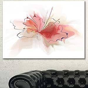 """粉色水彩花卉素描超大花卉墙壁艺术 粉红色 32x16"""" PT15010-32-16"""