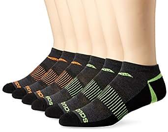 Saucony 圣康妮 男士6件装竞赛足弓支撑以及平滑的脚趾剪裁船型袜  灰色 Sock Size:10-13/Shoe Size: 6-12