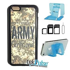 TekPulse (tm) 骄傲的*女友迷彩美国真皮 TPU 背壳和纳米单卡适配器和可折叠手机支架 - [捆绑包,3 件] - 直接打印技术 Iphone 5c