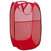 Mesh Popup 洗衣篮 - 便携,耐用的手柄,折叠便于储存和打开。 折叠弹出式衣服篮非常适合儿童房、学院宿舍或旅行。 红色 Single Hamper 2300-Red