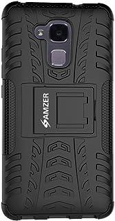 AMZER 华为荣耀 5C 混合战士耐冲击手机壳皮肤 - 零售包装 - 黑色/黑色