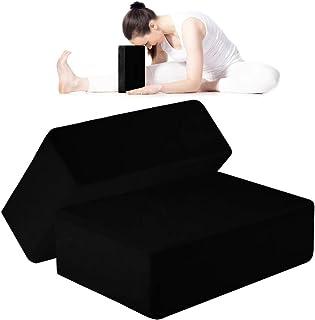 ANJUU 瑜伽砖 2 件装 高* EVA 泡沫块,防滑表面软木瑜伽砖 9 英寸 x 6 英寸 x 3 英寸(约 22.9 厘米 x 15.2 厘米 x 7.6 厘米)环保 EVA 泡沫锻炼块套装,改善瑜伽/普拉提/冥想的拉伸 - 黑色