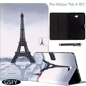 Tab A 10.1 手机壳,Newshine 超薄折叠智能手机壳适用于三星 Galaxy Tab A 10.1 英寸 (SM-T580/585/SM-T585) 平板电脑 2016 版多视角,文档卡袋 1 Girl&Eiffer Tower