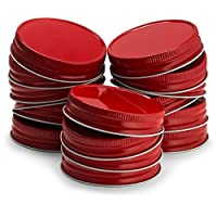 KooK 梅森罐盖常规嘴唇,防漏和*,红色,金色,银色,白色,16 包 红色 1005