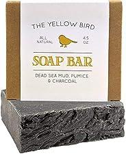 Dead Sea 泥皂棒 - 含去角質浮石磨砂和*木炭,*和天然精油美國制造,男女適用,面部、手部和身體肥皂
