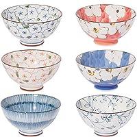 和食器 陶器 内外茶碗 6种图案套装