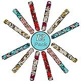 LMC Products 美人鱼派对礼物,生日礼物,两色女孩亮片手链,公主宝贝手链 - 12 件装