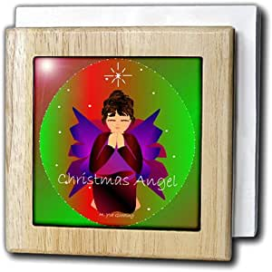 Yves Creations Angels - Christmas Angel Baby Girl Praying With Christmas Angel Text - Tile Napkin Holders 天然 6 inch tile napkin holder