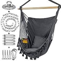 WBHome 室内室外吊床椅 - 灰色,棉质帆布,包含手提包和两个座椅靠垫,*大 重 330 磅(含悬挂五金件)
