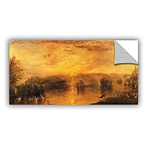 "ArtWall William Turner's the Lake Petworth Sunset a Stag Drinking Art Appeelz Removable Graphic Wall Art, 12"" x 24"""