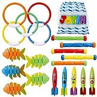 JOYIN 20 件潜水池玩具套装附赠收纳袋,5 个潜水棒、5 个潜水环、5 个潜水鱼饵、5 个潜水鱼玩具、水下游泳池玩具,儿童泳池玩具