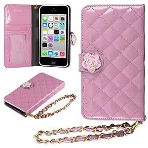 HHI iPhone 5C 绗缝钱包式手机壳黑色带水晶花朵闪亮和手带(套装包括 HandHelditems 素描手写笔)Hand7876 粉红色