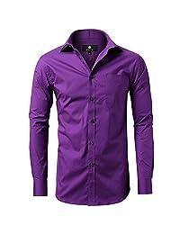 diig 男式修身长袖正装衬衫,修身工作衬衫,休闲和商务