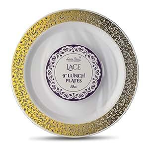 Laura Stein 设计师餐具蕾丝系列热印章塑料一次性盘子 9'' INCH PLATES LCE-P9G