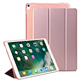 iPad Pro 10.5保护套 xulis 轻质智能保护套 PU 皮革正面和半透明软 TPU 手机壳背面带支架和磁性自动休眠唤醒功能适用于 ipad pro 10.52017版 Rose Gold (Tri-fold)