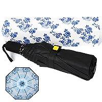Kobold 8 羅紋傘,旅行傘綠色花朵中國風格雙層設計,堅固的紫外線防護,防水