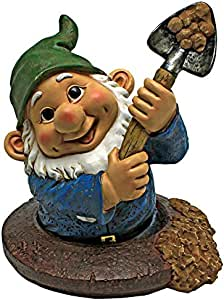 Design Toscano 花园小雕像 - Shoveling Sam Gnome-In-A-Hole - 户外花园花园手链 - 有趣的草坪