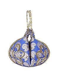 手镯 Potli 包/腕带/婚礼手提包带锦缎串珠 - 蓝色