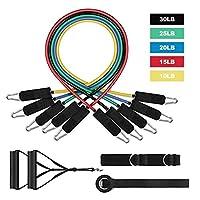 JUST N1 拉力阻力带套装和运动拉伸健身家居套装适用于健身房健身、训练、瑜伽(11 件装)
