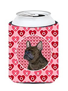 Caroline's Treasures SS4519-Parent French Bulldog Hearts Love and Valentine's Day Portrait Ultra 饮料隔热器适用于小型罐 SS4519MUK,多色 多种颜色 Can Hugger SS4519CC