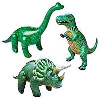 Jet Creations 3 件装恐龙三角龙暴龙手镯充气,派对用品,男孩和女孩喜爱装饰泳池玩具,JC-TBT