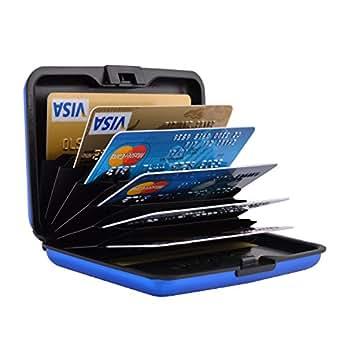 不锈钢 RFID 信用卡夹信用卡钱包保护器 RFID 金属信用卡套,男女适用 7 Slot Glossy Blue Luggage-Card-Case-New-Blue