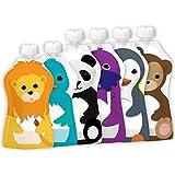 Squooshi 可重复使用食品袋 - 各种尺寸 Walrus/Panda/Monkey/Penguin/Lion/Bird 混色