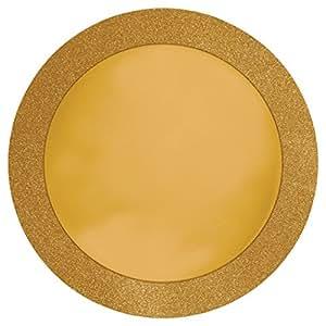 "Creative Converting 8 片装闪粉边圆形餐垫,金色 Glitz Gold 14"" 227592"