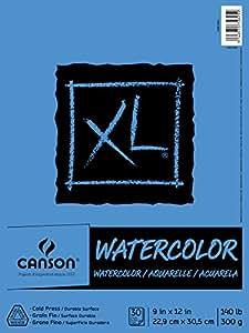 Canson 水彩纸垫,30 张,9 英寸 x 12 英寸,加大号 多种颜色 9 by 12-Inch MOR7022445