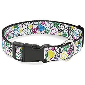 搭扣塑料夹领 - 素描骷髅/星星形/心形白色/多色 - 1.27 cm 宽 - 适合 20.32-30.48cm 颈部 - 中号