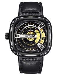 agelocer 艾戈勒 瑞士品牌 50米防水 24小时显示 小牛皮 自动机械男士手表 时尚创意镂空方形男表 5001A1 银色黑皮(亚马逊自营商品, 由供应商配送)