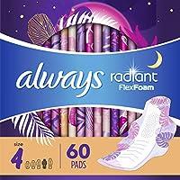 Always Radiant Heavy 女性护翼卫生巾,有香味 Overnight - Pack of 3 66